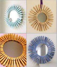 DIY mirror  Espejo con pinzas de madera