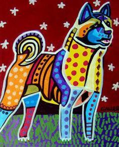 Akita Art Print Poster of Painting Dog Portrait Gift Heather Galler Folk Art Dog Pop Art, Dog Art, Art Pop, Akita Dog, Dog Poster, Panel Art, Dog Paintings, Poster Prints, Art Prints