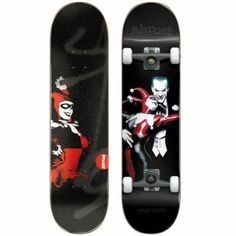 """Almost Harley Quinn Black 7.75 Resin Premium Complete Skateboard. Width: 7.75"""" x 31.2"""". Features: Premium Trucks: Hollow Kingpin, Custom Painted Finish, Premium Printed Graphic Griptape. Resin Complete: Specifically designed for durability and performance. The Resin deck is lighter and keeps it's pop longer than normal water based decks. 7-ply 100% Hardrock Maple with Epoxy Resin Glue. Single Deck Press (Same shape and concave every time). Carbon Steel Speed Bearings. Blank Skateboard Decks, Skateboard Grip Tape, Skateboard Shop, Skateboard Design, Custom Longboards, Custom Skateboards, Complete Skateboards, Resin Glue, Which One Are You"""