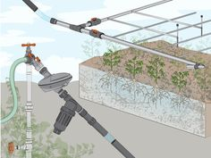 """HOW TO MAKE YOUR OWN DRIP IRRIGATION SYSTEM: Most vegetables prefer soil that's neither soggy nor dry, and earthworms and beneficial microorganisms do too. When there's too much water, these organisms drown. Too little, and you find yourself with dead plants and a reputation as a """"brown thumb."""" Drip irrigation answers these dilemmas, giving plants the perfect amount that they need to thrive, and saving water at the same time."""