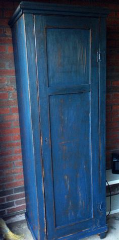 Primitive chimney cupboard. Blue on black chalk by BlackSheepMill, $425.00