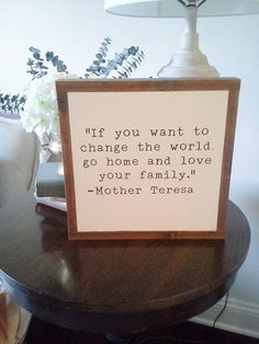"love your family, mother teresa quote, encouraging quote, typewriter style sign/ 12""x12"""