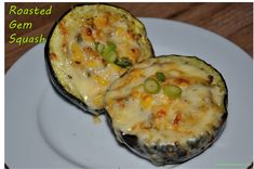Sweet roasted gem squash with creamy corn filling - A South African vegetarian delicacy PM vindhyadesai Gem Squash, Squash In Oven, Squash Food, Dutch Oven Recipes, Side Dish Recipes, Cooking Recipes, Side Dishes, Dinner Recipes, Fast Healthy Meals