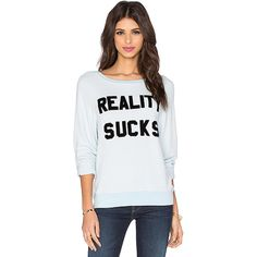 Wildfox Couture Reality Sucks Sweatshirt Loungewear ($98) ❤ liked on Polyvore featuring tops, hoodies, sweatshirts, sweatshirts & hoodies, hooded pullover sweatshirt, graphic hoodie, wildfox, wildfox tops and hoodies sweatshirts