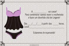 Convites para Chá de Lingerie Grátis para Editar - Cantinho do blog Pin Up Lingerie, Instagram Blog, Posts Instagram, Drink Sleeves, Silhouette Cameo, Marriage, Cassi, Angry Birds, Places