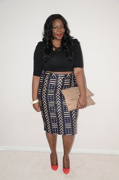 My Curves  Curls™ | A Canadian Plus Size Fashion blog: {OUTFIT POST: DIY CROP TOP AND MUD CLOTH}