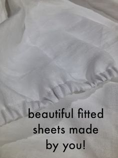 Prompted by the arrival of our fabulous linen sheeting range, here& a tutorial to show you just how easy it is to make your own fitted sheets. It might be easier to enlarge the images as you wor Diy Sewing Projects, Sewing Projects For Beginners, Sewing Hacks, Sewing Tutorials, Sewing Crafts, Sewing Tips, Sewing Lessons, Sewing Ideas, Techniques Couture
