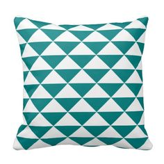 Teal Blue and White Geometric Triangular Pattern throw pillows from Zazzle