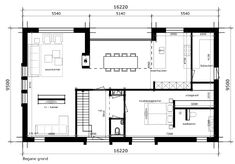 Like fireplace in living & dining table and like tv room but needs to be completely sealed off from living Bungalow Floor Plans, House Floor Plans, Modern Architecture House, Architecture Plan, Home Design Plans, Plan Design, Living Room Floor Plans, Arch Interior, Build Your Own House