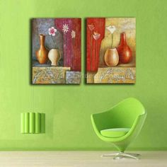 Rectangle Canvas Pair _ 'Colors with Vases' Modern Painting, Mural Art, Canvas, Painting, Art, Canvas Art, Abstract, Color, Painted Paper