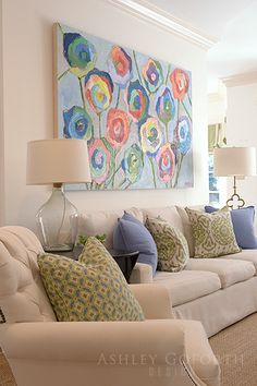 Ashley Goforth Design | Overbrook Keeping Room, Sofa, Couch, Next At Home, Beautiful Paintings, Beautiful Interiors, Interior Inspiration, Living Rooms, Beach House
