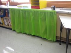 This teacher purchased a plastic table skirt at a party store (wh… Awesome idea! This teacher purchased a plastic table skirt at a [. Classroom Setting, Classroom Setup, Classroom Design, Kindergarten Classroom, Autism Classroom, Classroom Environment, Classroom Displays, Classroom Cubbies, Classroom Curtains