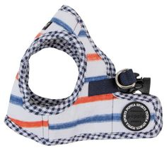 """Puppia """"Sappy Ginhagm Stripe"""" Choke-Free Step-in Harness Vest Jacket in Color Navy"""