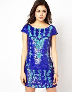 Image 1 ofLittle Mistress All Over Sequin Embellished Dress