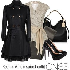 Regina Mills inspired outfit/OUAT by tvdsarahmichele on Polyvore featuring Jacques Vert, Akira Black Label, Christian Louboutin and Reed Krakoff