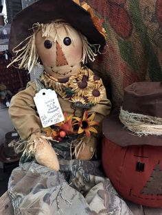 Primitive handmade scarecrow doll. Just in at Isaac's Rusty Wagon 421 South Pershing (Hwy 148) Energy, IL 62933 Open Tues-Sat 10 am to 5 pm. Home decor, Vintage, and Much More!