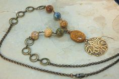 Necklace Mexican Agate Autumn Color Jewelry by JillianDesigns4u, $49.00