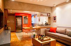 Decoração de: Sala de estar; viga de concreto; Casa de Valentina