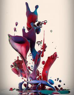 Dropping par Alberto Seveso  Alberto Seveso est un artiste graphiste italien, son travail est basé sur la photo et la retouche d'images.  Pour ce projet baptisé « Dropping » en hommage au « dripping » de Jackson Pollock, l'artiste utilise des pigments mélangés à de l'huile pour réaliser ces clichés de la matière en mouvement. Le résultat offre des photos colorées presque irréelles prises à grande vitesse.