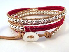 Trendy leren triple herringbone wrap rood/zilver van Unycq  op DaWanda.com