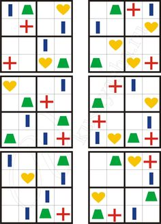 Sudoku for kids with geometric shapes Cooperative Learning, Learning Games, Math Games, Kids Learning, Educational Activities, Preschool Activities, Visual Perception Activities, Graph Paper Art, Coding For Kids