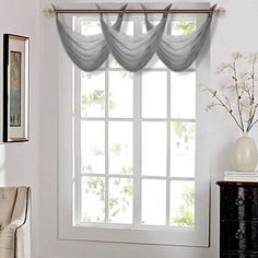 K36 CHARCOAL 1 PC Solid Voile Sheer WATERFALL Valance Window Treatment With 2 Grommets On Top 55 in Wide X 24 in Length 549519249815