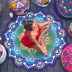 Super chick round beach blankets, can also be used as yoga mats. So fun, beautiful and photogenic ;) YOU JUST GOTTA HAVE ONE ! ! ! Material: Polyester / Cotton Cleaning Type: Hand Wash,Machine Washabl