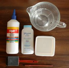 DIY Homemade gesso 1 part white glue 2 parts water add baby powder until it has a pancake batter consistency