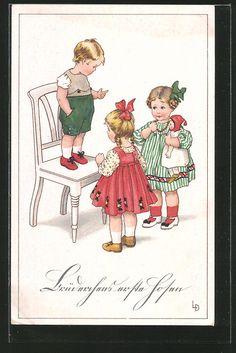 carte postale ancienne: CPA Illustrateur Lia Döring: des enfants spielen an einem Stuhl, Puppe