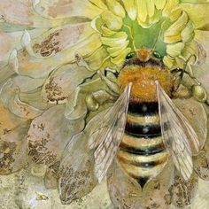 """Detail closeup from Insecta series """"Honeybee"""" watercolor Bee Painting, Gold Leaf Art, I Love Bees, Beautiful Bugs, Insect Art, Bee Art, Illustration, Bees Knees, Art And Architecture"""