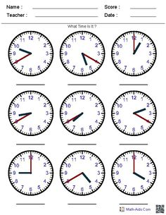pre k clocks worksheets | Generate Random Clock Worksheets for Pre-K, Kindergarten, 1st, 2nd ...