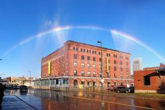 Bemis Center for Contemporary Arts to create rainbows in the sky.  Twice per day with clear sun, for 20 minutes each, a rainbow will appear above the Bemis Center's roof in downtown Omaha. The rainbows will be created using sunlight, renewable energy and 100% captured rainwater.