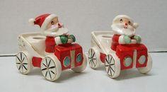 Porcelain+Holt+Howard+1959+Santa+Claus+Driving+Car+Candle+Holder+Vintage+Set+(2)+
