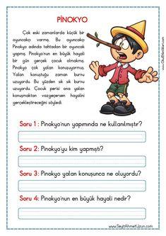 OKUMA ANLAMA METNİ – PİNOKYO Okuma anlama metinleri Özgün bir çalışma olarak pdf formatında hazırlanmıştır. Sitede bulunan çalışmaları özgün içerik olarak hazırlıyoruz. Bu yüzden Sitemizde.. Turkish Lessons, Learn Turkish Language, Reading Passages, Stories For Kids, Short Stories, Foreign Languages, Primary School, First Grade, Special Education