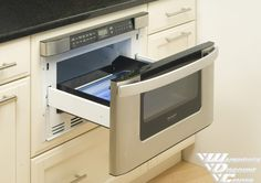 Microwave drawer to be installed in the center island