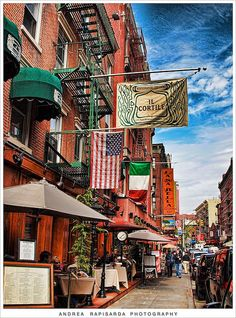 Little Italy, NYC. Favorite place ever!! Brick oven pizza, olives and cheese for days...