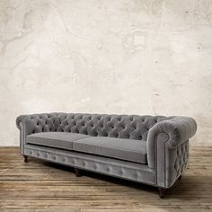 "Warwick 109"" Tufted Upholstered Sofa in Lourdes Fog | Arhaus Furniture"
