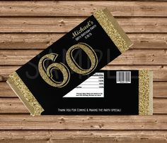 Elegant black & gold glitter adult milestone birthday themed candy bar wrappers! Impress your guests or decorate your tables with these beautiful candy wrappers. Any milestone age available, 30 - 40 - 50 - 60 - 70 - 80 - 90, Personalized with your information, the guest of honor's name on the front and date of party; the birth date and name on the back.