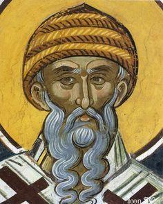 Saint Spiridon , XVI century icon in  Dionysiou monastery  at the monastic state of Mount Athos in Greece