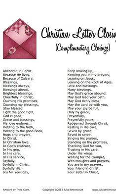 Christian Letter Closings | Christian | Christian crafts