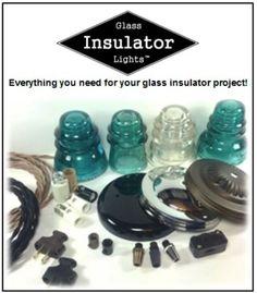 DIY Glass Insulator Light Kits, DIY Insulator Light Parts, Pre-Drilled Glass Insulators and How to make Glass Insulator Lights Guide