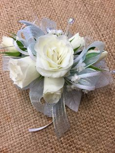 White Rose And Baby Blue Prom Corsage Ideas