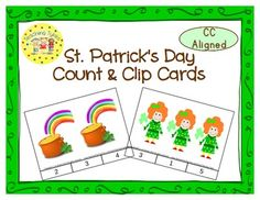 These cards are terrific for Math Centers – A Hands-On Activity your kiddos will love!  St. Patrick's Day Clip Cards allow learners to practice counting. There are 12 clip cards. On each card is a set of pictures to count and a choice of three numerals. Learners count the pictures in the set and clip a clothespin to the numeral that corresponds with the number of pictures in the set.