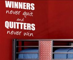 Winner Never Quit Sports Vinyl Wall Sticker Art Inspirational Decal Quote S25. $15.97, via Etsy.
