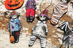 Black cat ornament Folk art cat ceramic figurine Halloween Folk Art, Ceramics, Superhero, Ornaments, Halloween, Unique Jewelry, Handmade Gifts, Cats, Fictional Characters