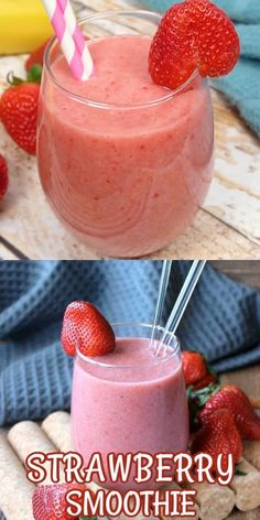 Dairy-Free Strawberry Smoothie is perfect for a healthy smoothie. It has only 4 ingredients and takes less than 5 minutes so it's really easy too. There's even a bit of maple syrup for this fruit packed breakfast smoothie recipe. Frozen Fruit Smoothie, Watermelon Smoothies, Healthy Fruit Smoothies, Fresh Strawberry Banana Smoothie Recipe, Smoothies With Strawberries, Yogurt Free Smoothies, Healthy Smoothie Recipes, Low Calorie Smoothies, Strawberry Breakfast