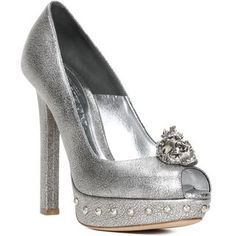 ALEXANDER MCQUEEN, High-heels, Punk Skull Leather Peep-Toe