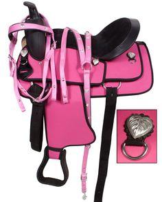 Pink Western Synthetic Horse Saddle Tack Set 14 16