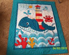Handmade Baby Boy or Toddler Blue Ocean Whale Nursery Crib Quilt