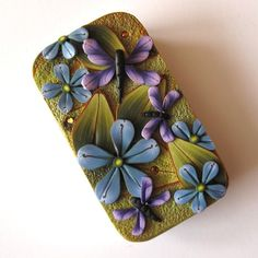 Violet Dragonfly Slide Top Tin Sewing Needle Case by Claybykim